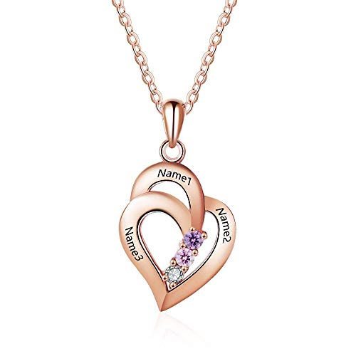 Grand Made Peesonalized Mothers Name Necklace with 3 Simulated Birthstones Pendant Relationship Heart Name Necklace for 3 Personalized Necklace for Ladies (Rose Gold, Silber)