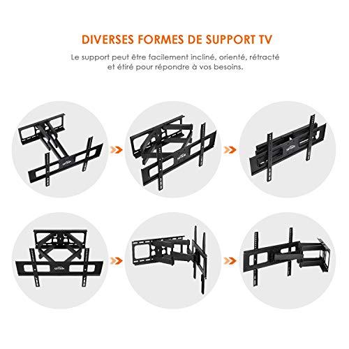 SIMBR Support Mural TV Orientable et Inclinable pour Télévision de 32-70 Pouces Convient pour Écran LED LCD Plasma Plat ou Incurvé VESA Max 600×400mm Capacité Max 60kg Fixation Murale TV de Deux Bras