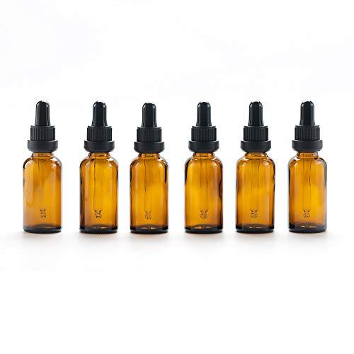 Yizhao Marrone Bottiglie Contagocce Vetro 30 ml, con Pipette Contagocce Vetro, per Laboratorio,Olio Essenziale, Aromaterapia– 6 Pcs