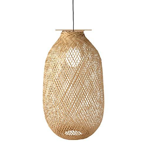 Jaula de bambú para lámpara colgante, soporte de lámpara, ventilador de techo, cubierta rústica, estilo vintage, solo jaula (grande de 11,8 x 23,6 cm)