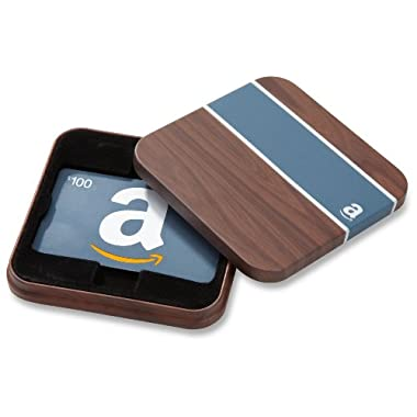 Amazon.com $100 Gift Card in a Brown & Blue Tin (Classic Blue Card Design)