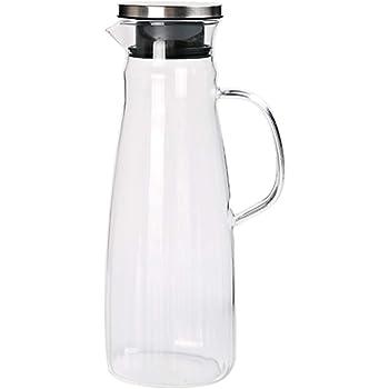 ML Jarra de Cristal con Tapa para Bebidas Garrafa Transparente para Agua 1 litro