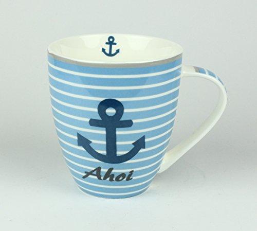 Buddel-Bini Maritimer Becher Anker AHOI gestreift Tasse Kaffee Becher Andenken weiß blau