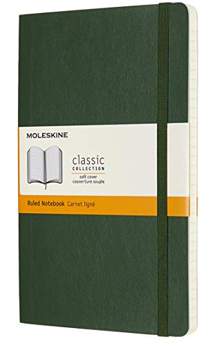 Moleskine Classic Notebook, Soft Cover, Large (5' x 8.25') Ruled/Lined, Myrtle Green, 240 Pages