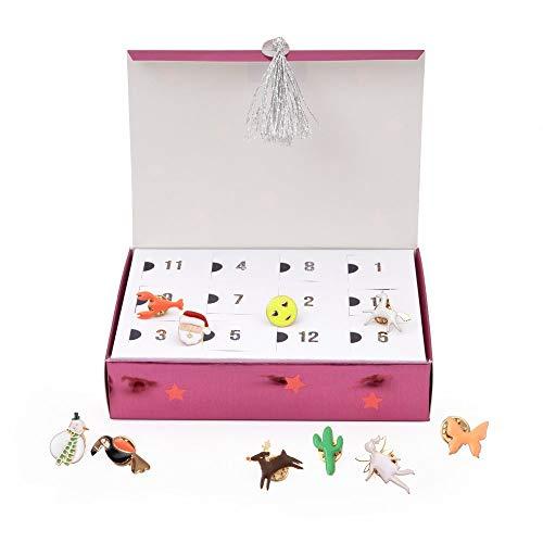 Meri Meri Boîte à bijoux calendrier de l'Avent en émail – Compte à rebours jusqu'à Noël, pour filles