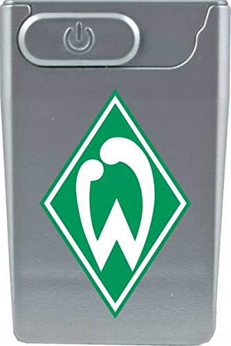 Bremen Feuerzeug SV Werder Sticker Forever, Sturmfeuerzeug, wiederaufladbar per USB, Lichtbogenfeuerzeug Elektrofeuerzeug (USB Card Lighter, Silber)