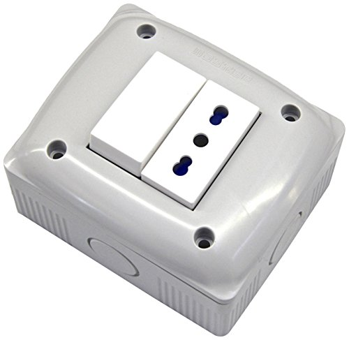 Electraline 60455 Contenitore Protetto con Presa Bivalente e Deviatore, Bianco
