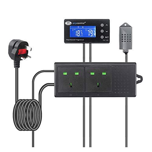 GUHUIHE UE Reino Unido EE. UU. Enchufe la Temperatura Digital Controlador de Humedad del termostato Regulador del termostato Interruptor LCD AC220V 10A para la casa Verde (Color : UK Plug)