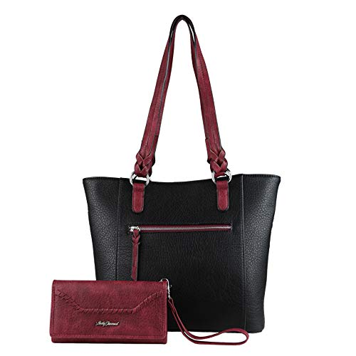 Concealed Carry Purse - Two-tone Grace Tote with Wallet by Lady Conceal (Black/Burgundy Wallet)