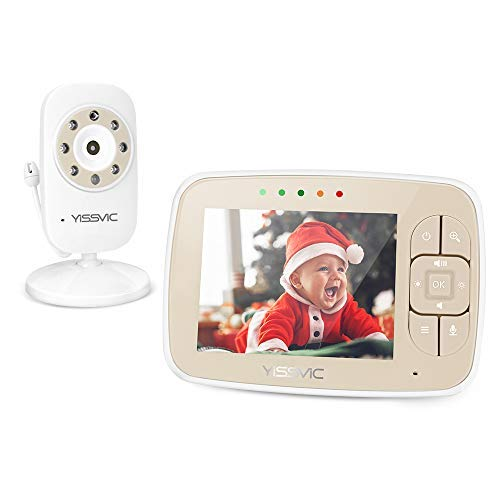 """YISSVIC Vigilabebés Video Monitor Bebé con Cámara Visión Nocturna 3,5"""" LCD con Modo VOX - Se pueden conectar hasta 4 cámaras"""