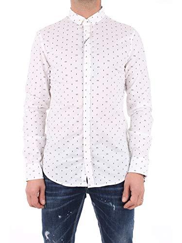 Armani Exchange AX Herren Slim Fit Printed Stretch Cotton Long Sleeve Woven Hemd, Weißes Logo Flash, X-Klein