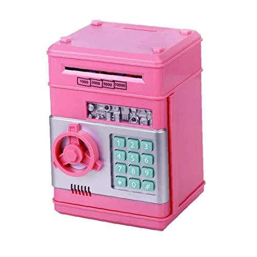 Sanfiyya Monedas Hucha Kids Dinero Fuerte automático Mini Cajero Caja del Ahorro de Rosa de la Plata