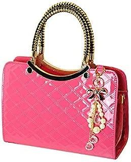 AMAZACER Women Plaid Handbag Designer Fashion Tote Purse Patent Leather Top Handle Bag with Beautiful Pendant (Color : Purple)