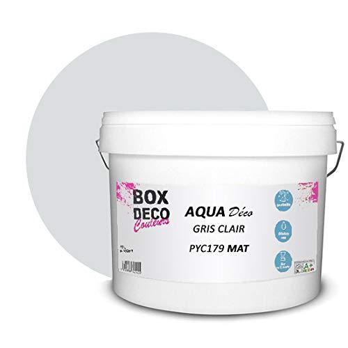 Peinture acrylique aspect mat Aqua déco - Murale - 44 couleurs - 10 L - 100 m² (Gris clair)