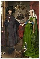 Jan VanEyckのArnofiniPortrait Masterpiece Canvas Wall Art Print Photo Print Picture Room Decor-50x70CM Frameless
