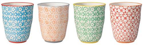 Bloomingville Becher Carla, rot grün blau orange, Keramik, 4er Set