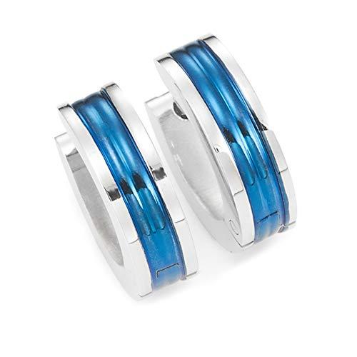 Herren Unisex Huggie Ohrringe in 316l Edelstahl Ozean Blauer Reifen Design 10mm (Mit Marken Geschenkbox)