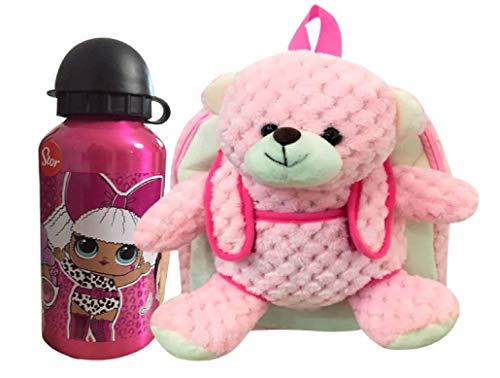 Rugzak teddybeer roze kinderen met waterfles roestvrij staal voor jongens en meisjes lekvrije thermosfles BPA-vrij thermo/400 m