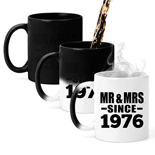 45th Anniversary Mr & Mrs Since 1976-11oz Color Changing Mug Magic Tea-Cup Heat Sensitive - for Wife Husband Wo-men Her Him Wedding Birthday Anniversary Mother's Father's Day