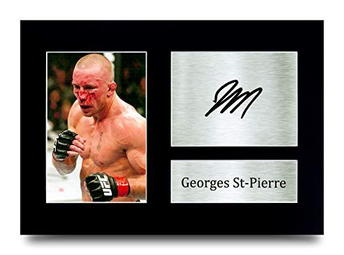 HWC Trading Georges St-Pierre MMA Gifts Printed Signed Autograph Picture for UFC Memorabilia Fans - A4