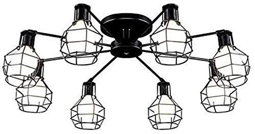ZJJZ Lámpara Colgante de luz Industrial, Enchufe con Jaula de Metal para casa, Loft, Sala de Estar, Bar, restaurantes, cafetería, decoración del Club