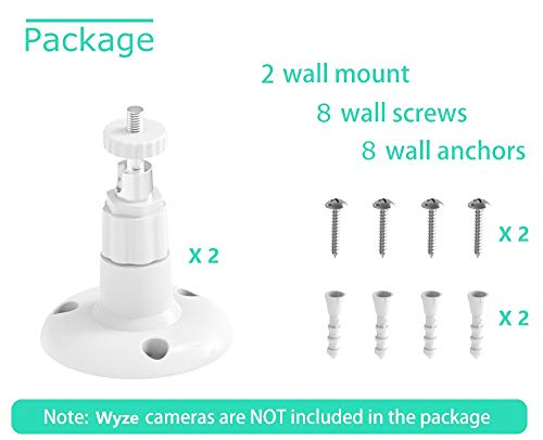 Wyze Cam Pan Wall Mount, Mrount Adjustable Indoor 360 Degree Swivel Ceiling Mount Bracket for Wyze Cam Pan 1080P, 2 Pack