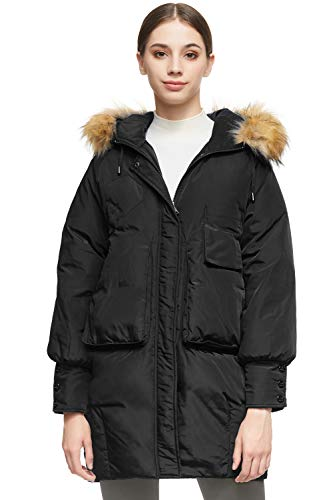 Orolay Women Warm Down Jacket with Hood Faux Fur Unique Sleeve Cuff Coat Black M