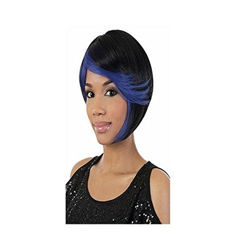 Longlove Perruque de cheveux humains courts noirs mélangés avec une petite frange bleue