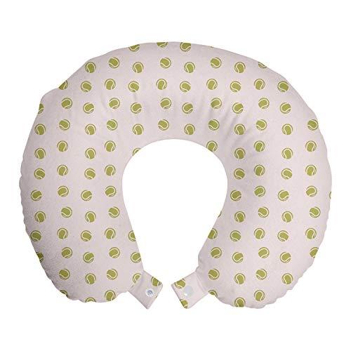 ABAKUHAUS Khaki Reisekissen Nackenstütze, Simplistic Tennisbälle, Schaumstoff Reiseartikel für Flugzeug und Auto, 30x30 cm, Baby-Rosa und Weiß