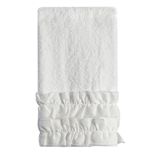 Creative Bath Products Ruffles Collection, FINGERTIP Towel, White