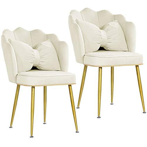 ZCXBHD Sillón de comedor de tela de terciopelo con patas de metal, asiento tapizado grueso y respaldo para mostrador, salón, esquinero (color: blanco crema, tamaño: 2 piezas)