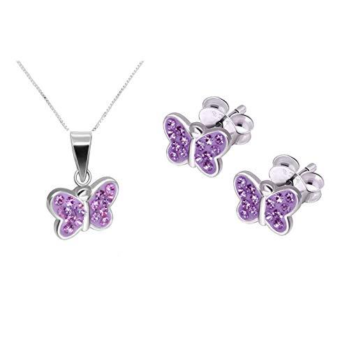 Five-D Set composto da collana e orecchini effetto cristallo a forma di farfalla, in argento Sterling 925, consegnato in confezione regalo e Argento, colore: Catena lilla 36 cm., cod. SL-Set-E52-V
