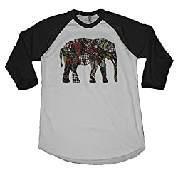 Sassy Frass Tees Raglan T-Shirt - Elephant Pattern - Raglan Style Tee