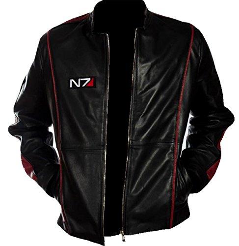 EU Fashions Damen Lederjacke Commander Shepard Street Fighter Mass Effect N7 Logo Schwarz Gr. XL, Kunstleder