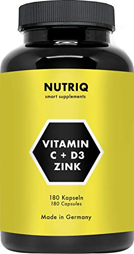 Vitamine C + D3 + Zinc par NUTRIQ - 180 gélules pour 6 mois - dosage élevé