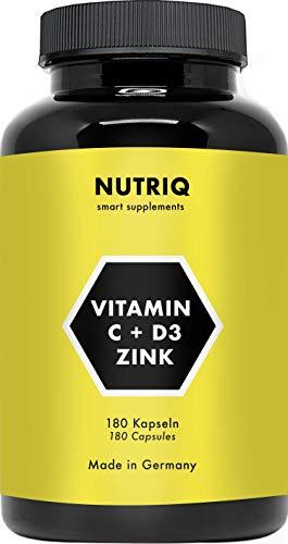 Vitamina C + D3 + zinc de NUTRIQ - 180 cápsulas durante 6 meses