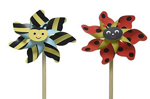 Windmühle Windrad Wind Spinner Kinder Spielzeug Garten Rasen Party Dekoration - Kunststoff Biene/Käfer Ø15x48cm 2er Set