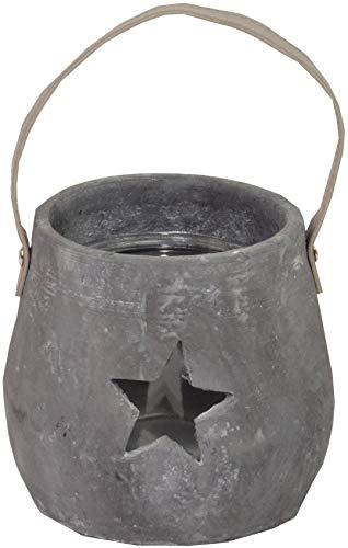 CHICCIE beton theelichthouder grijs met glazen inzetstuk 14cm & twee sterren en lederen hengsels - lantaarn kandelaar windlicht