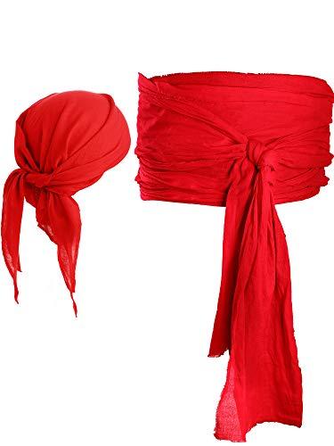 Halloween Pirate Sash Belt Medieval Renaissance Halloween Pirate Costume Pirate Bandana and Large Sash Waist Belt Accessory (Red)