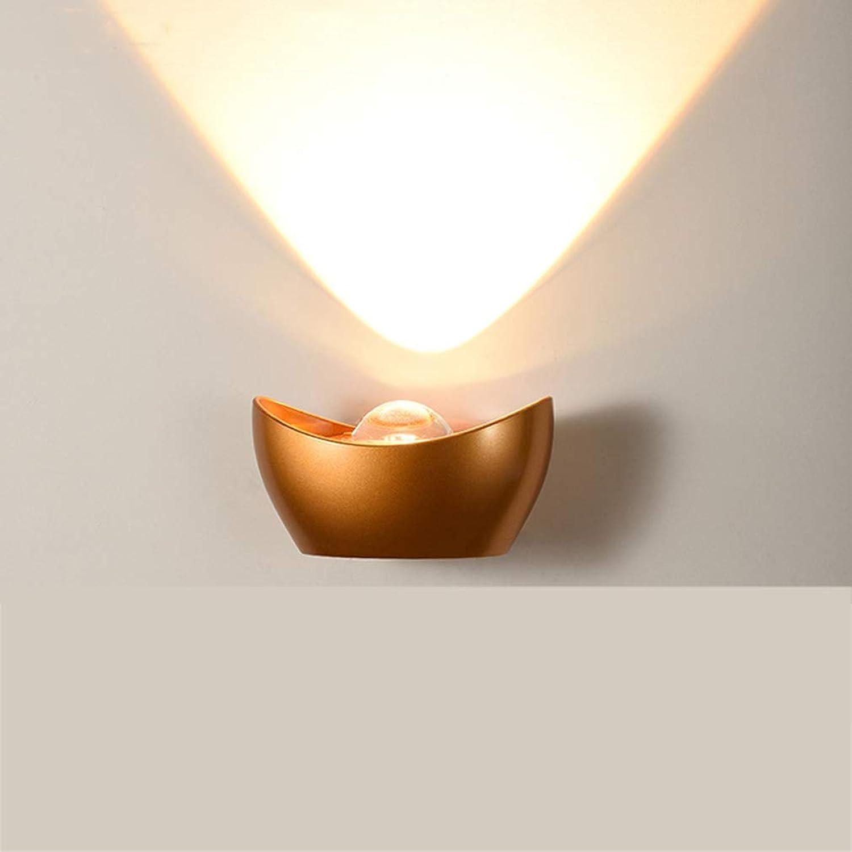 SAC d'épaule Wandleuchte, einfache Yuanbao Wandlampe Schlafzimmer Schlafzimmer Wohnzimmer Gang Treppenhaus Lampe kreative Outdoor Wasserdichte Wandleuchte,Gold