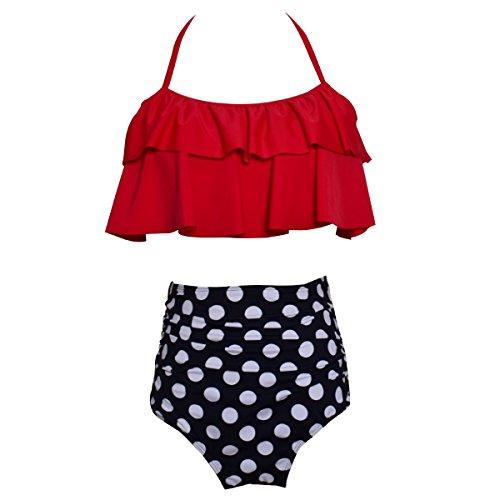 HAINE Damen Sexy Bikini High Waist Bademode Geteilter Badeanzug Push up Bikini Sets Zweiteiler Strand Swimwear Swimsuits Mode Boho Bikinis Beachwear Tank top + Slim Shorts 2 Pcs Sets Rot L