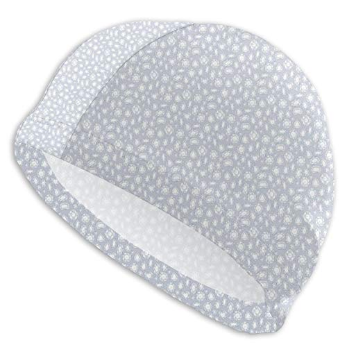 GUUi Swimming Cap Elastic Swimming Hat Diving Caps,Sketch Style Crystals Hearts Pentagon Rectangle and Rhombus Shapes Hand Drawn,for Men Women Youths