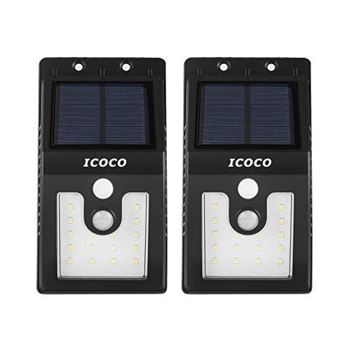 [2 PACK] LED Lampe Extérieur Solaire, ICOCO 16 Leds Eclairage Exterieur Imperméable Eclairage Terrasse Sans Fil Détecteur de Mouvement et Intelligents Économie d'énergie pour Maison Exterieur/ Jardin etc