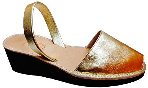 Avarcas menorquínas con tacón/cuña de 4,8 cm, Abarcas, Albarcas, Sandalias … (40, Oro Piel)