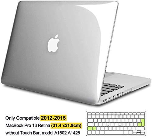 iNeseon Funda MacBook Pro 13 Retina, Carcasa Case Duro y Cubierta del Teclado Transparente EU Layout para para MacBook Pro 13.3 Pulgada Modelo A1502 e A1425,Transparente