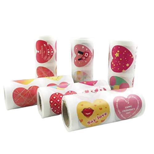 Amosfun Hart Vorm Stickers Waterdichte Zelfklevende Afdichting Stickers Decals voor Envelop Verpakking Valentijnsdag Accessoires 6 Rollen