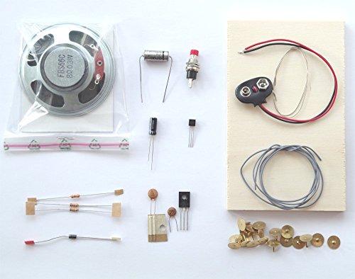REC electronic Sirenen Bausatz mit Lautsprecher auf Holzbrettchen