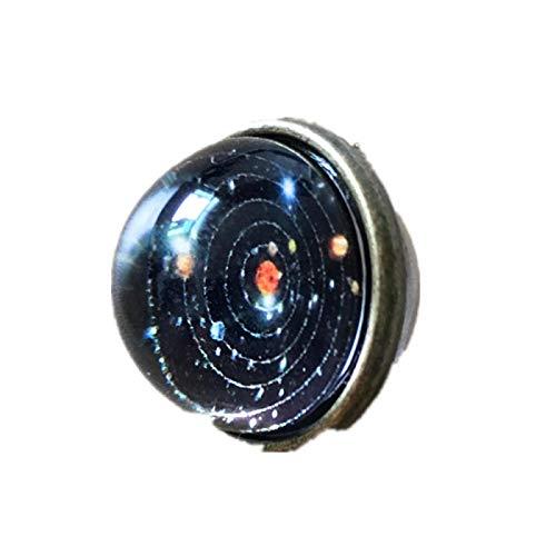 RQQ Double Sided Glass Ball Solar System Star Halskette Galaxy Anhänger Men's Halskette Männer und Frauen solarsystem