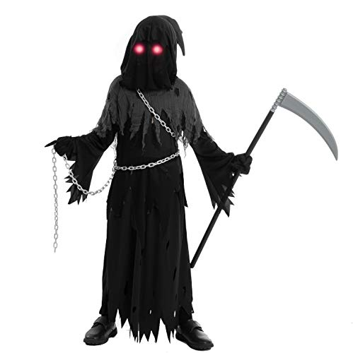 Spooktacular Creations Child Unisex Glowing Eyes Reaper Costume for Creepy Phantom Halloween Costume (Medium (8-10 yr)) Black