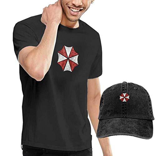 Kalinanai Camisetas, Tee's, Umbrella-Corps-Resident Men's Classic Camiseta con Gorro de béisbol Lavado Denim Negro